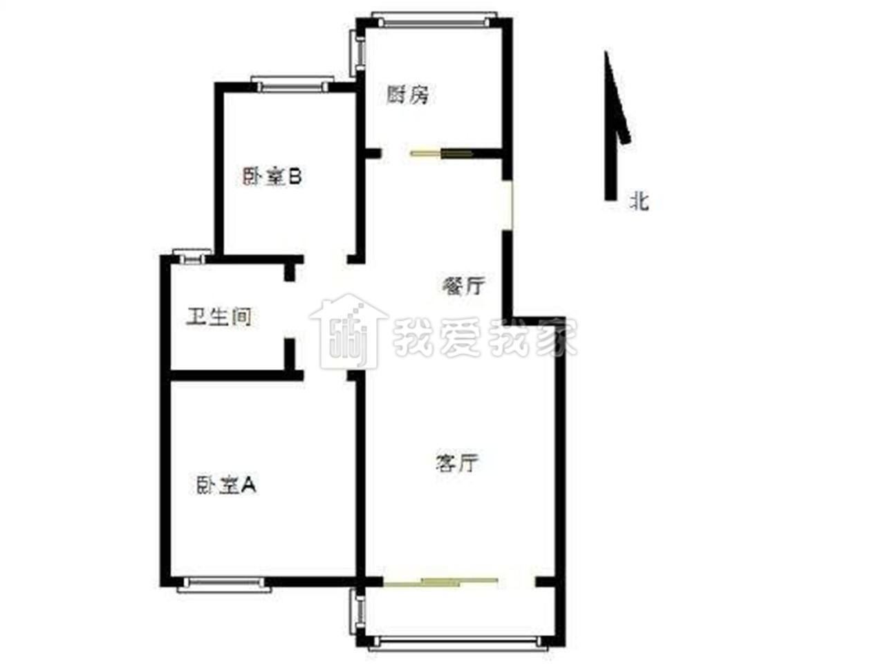 雨花台区宁南君悦湖滨花园2室2厅户型图
