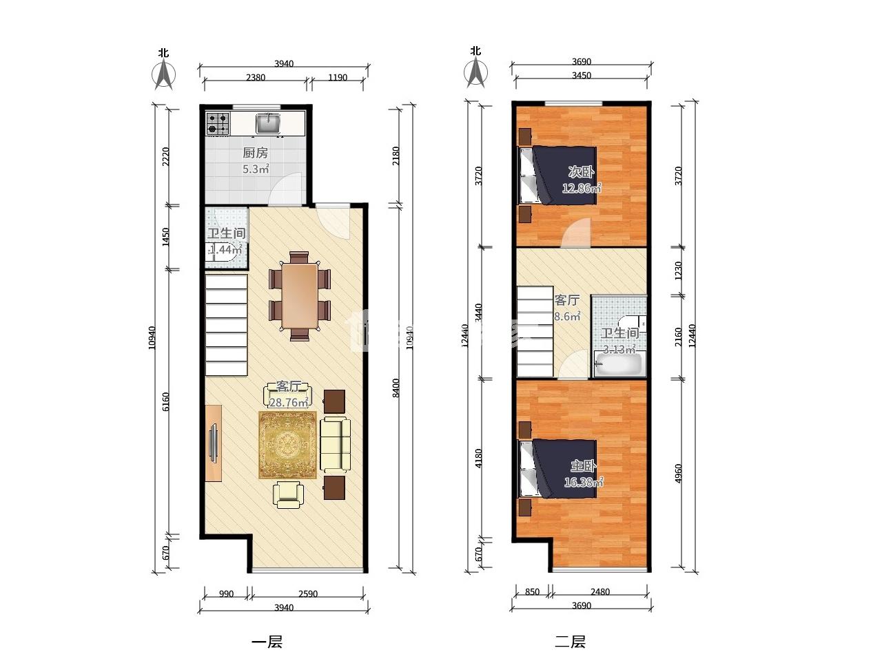 栖霞区迈皋桥中电颐和家园睿域2室2厅户型图