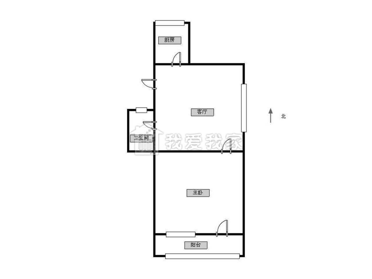 雨花台区安德门龙福花园1室1厅户型图