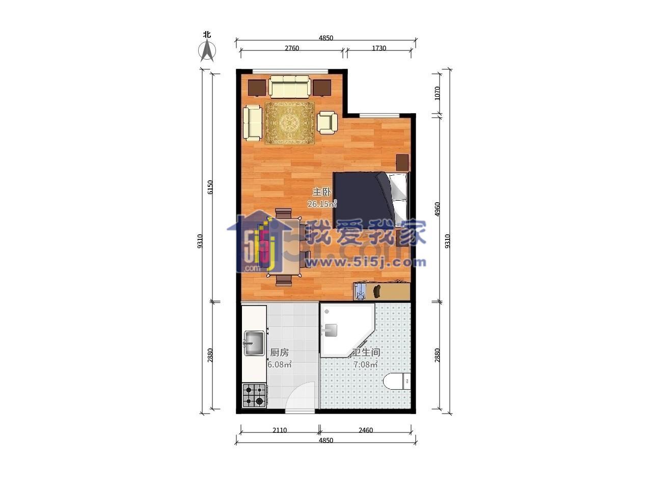 玄武区长江路凯润金城1室1厅户型图