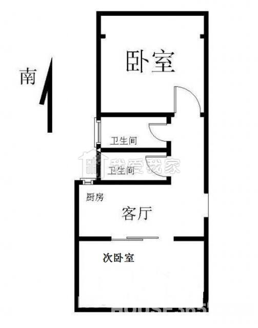 玄武区珠江路沙塘园2室1厅户型图