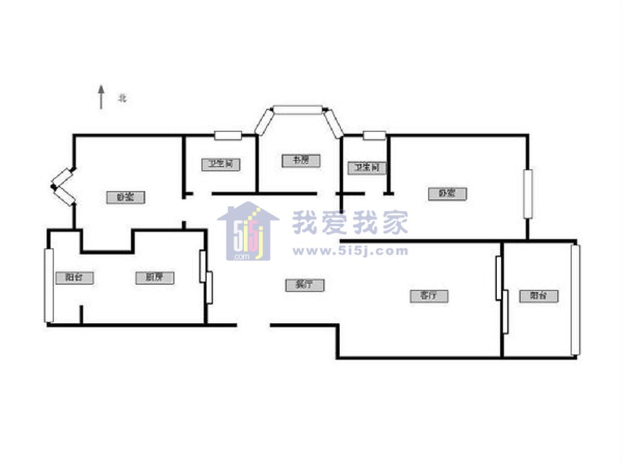 江宁区将军大道翠屏国际城广场苑3室2厅户型图