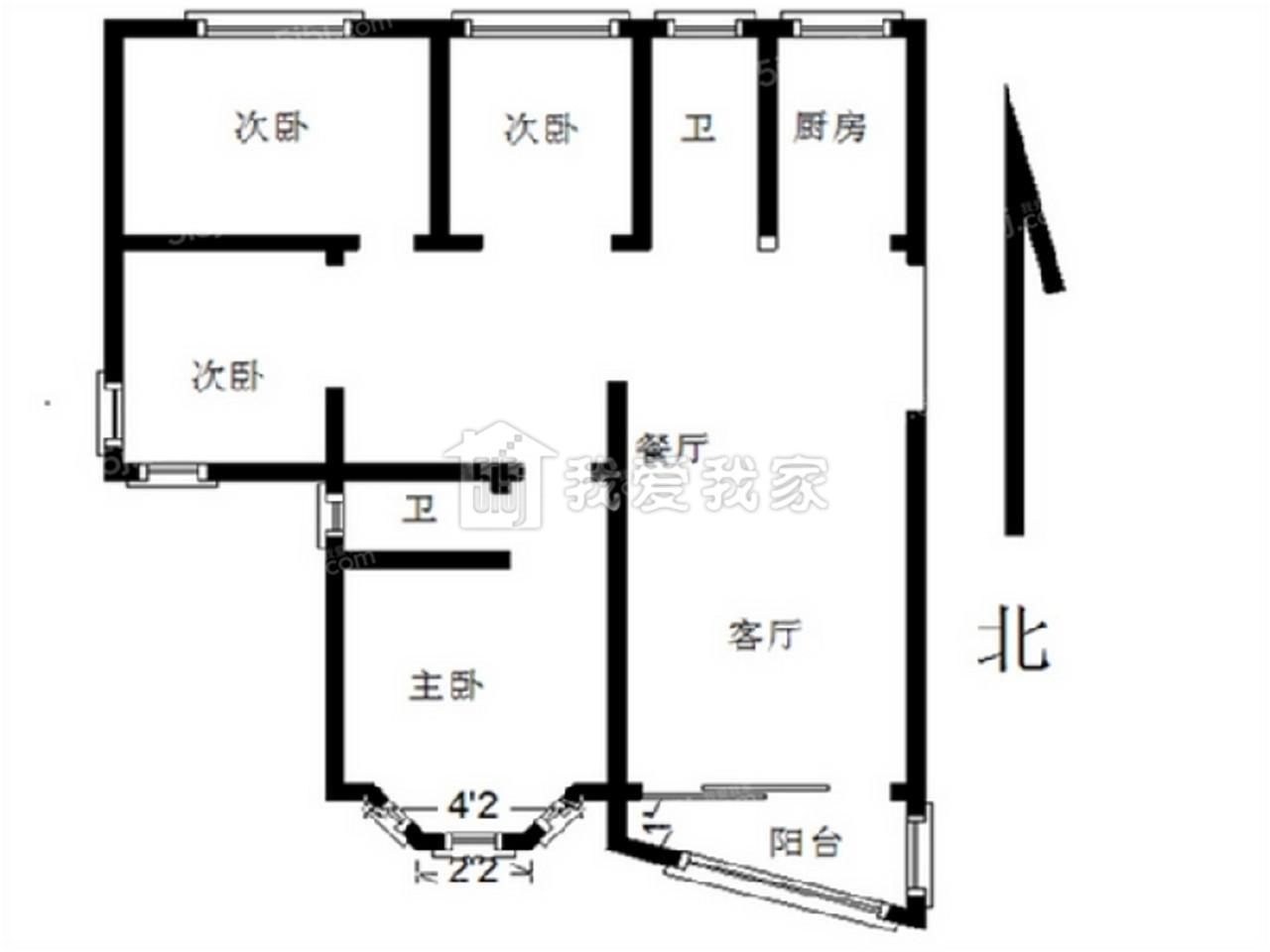 鼓楼区龙江汇贤居3室2厅户型图
