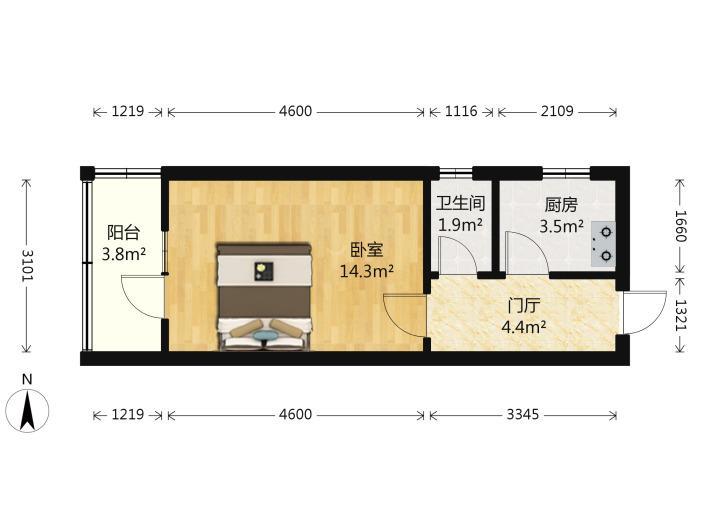 浦口区桥北弘阳广场1室1厅户型图