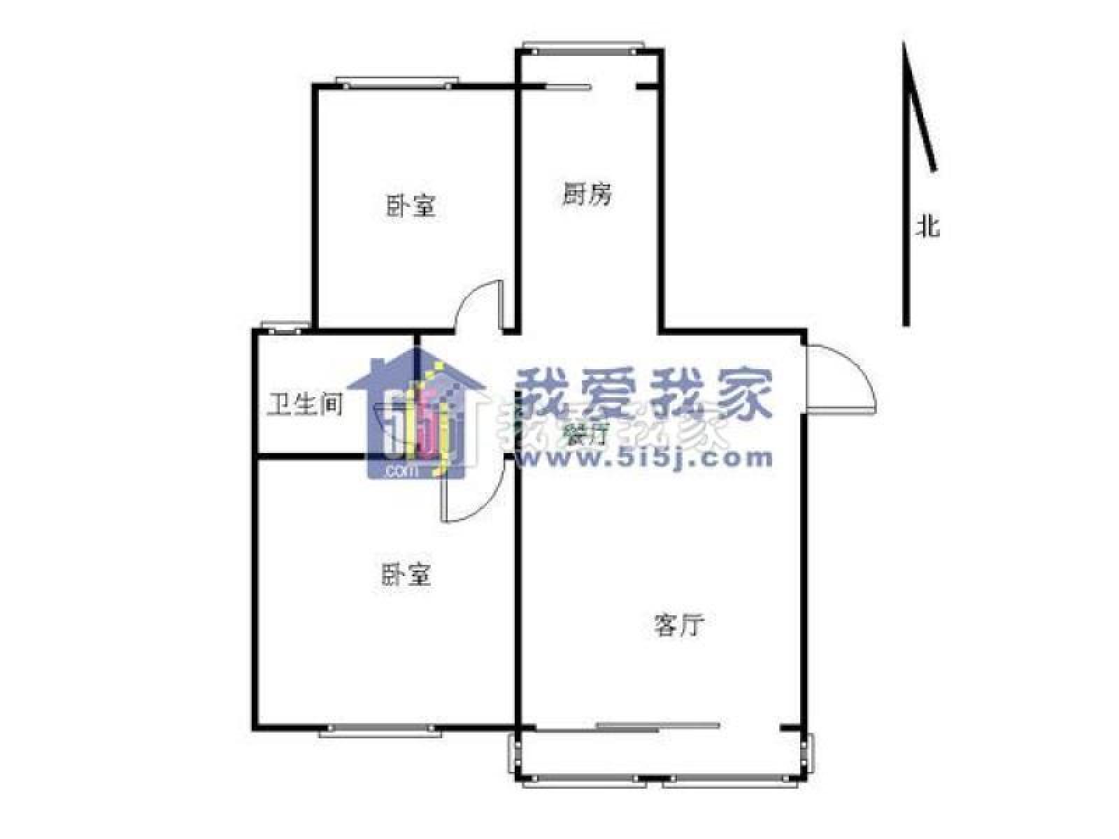 秦淮区大光路香格里拉东苑2室1厅户型图
