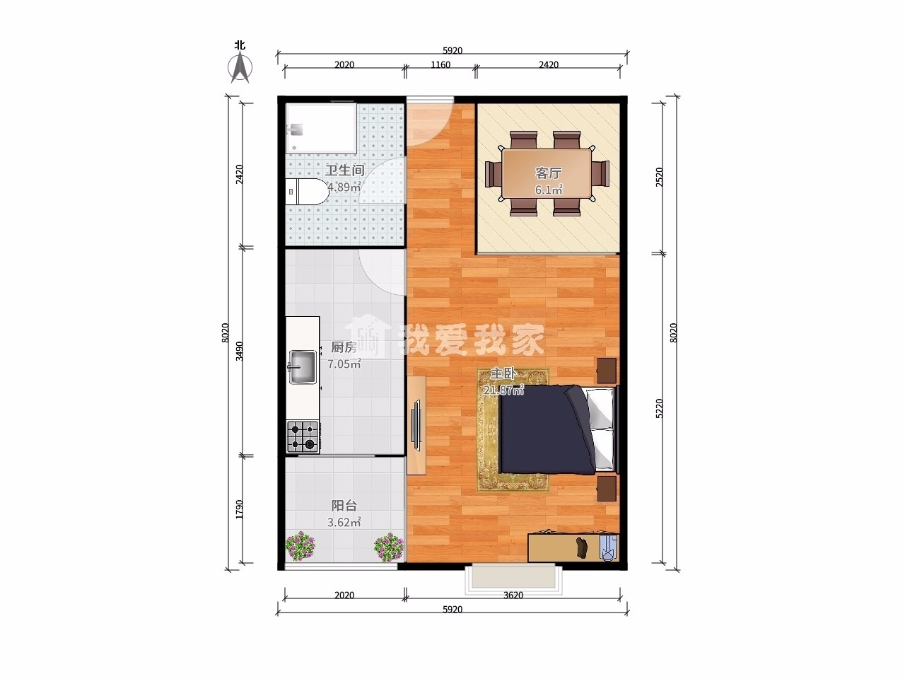 鼓楼区龙江天玺国际广场1室1厅户型图