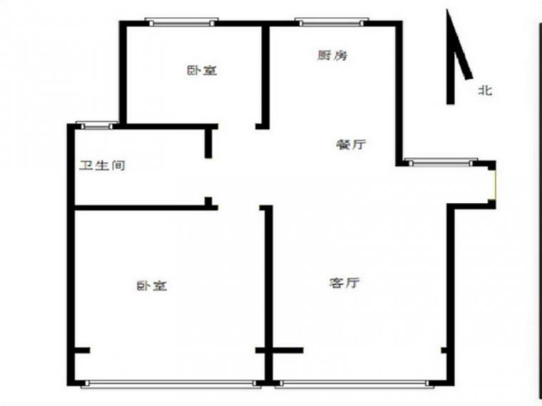 中电颐和家园四期 两室两厅 户型方正 南北通透 小区中间位置
