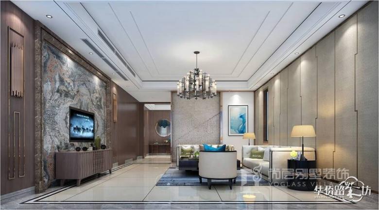 别墅客厅电视背景墙装修效果图怎么设计才好看?