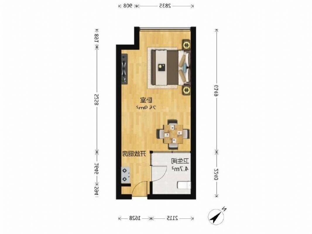 建邺区奥体紫鑫国际公寓1室1厅户型图