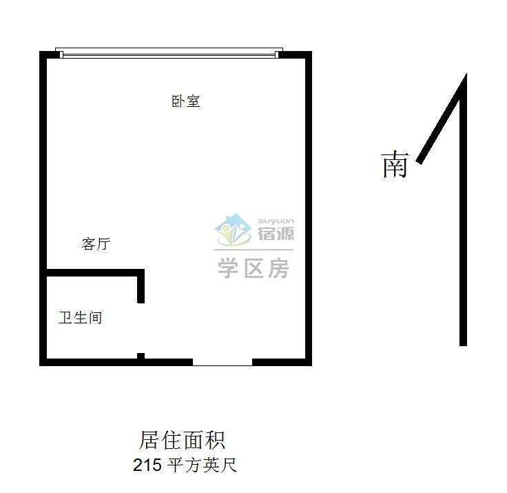 鼓楼区湖南路中环国际广场1室1厅户型图