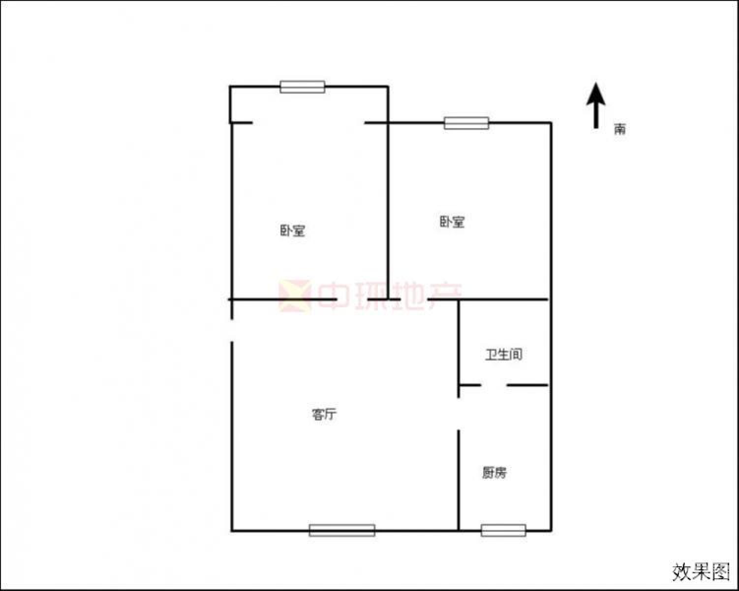 玄武区月苑北苑一村2室1厅户型图