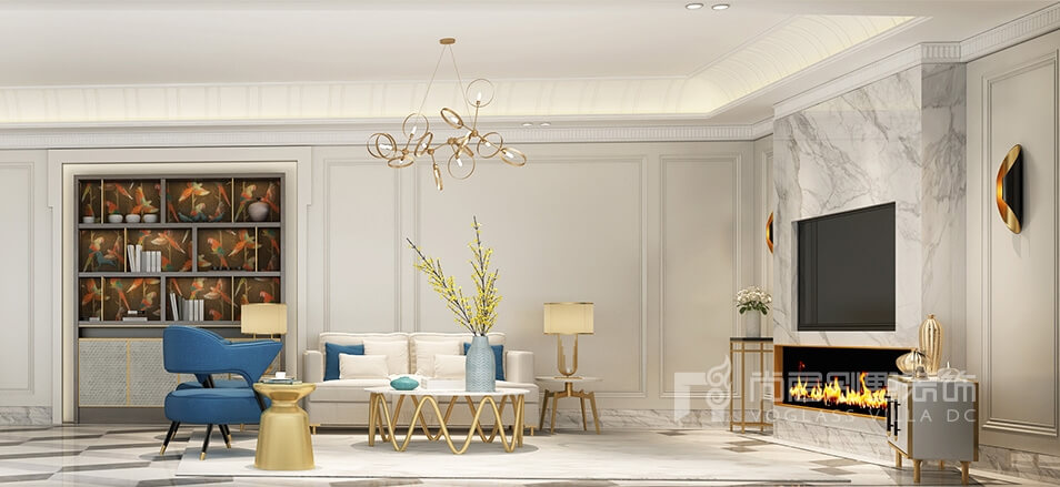 客厅摒弃传统欧式繁复的造型设计与厚重的线条,简化了立面造型与色彩