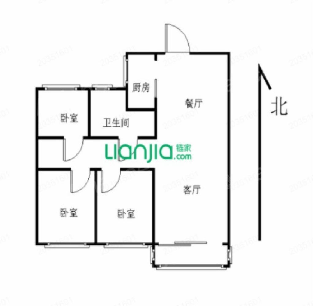 江宁区南京南站万科新都荟3室2厅户型图