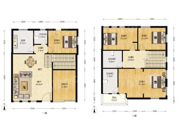 玄武区樱驼花园帝豪花园别墅4室3厅户型图
