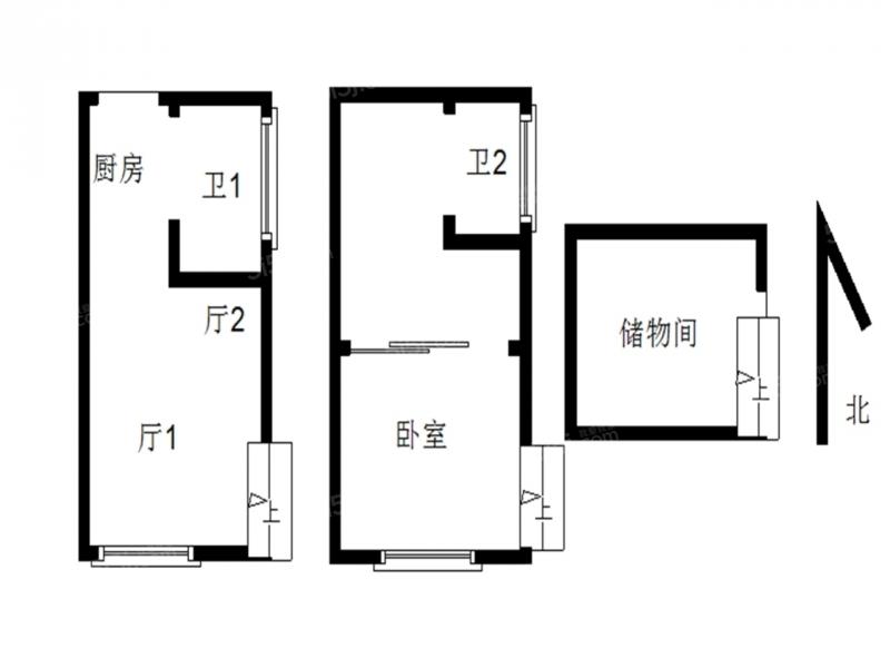 建邺区奥体金马郦城东区1室1厅户型图
