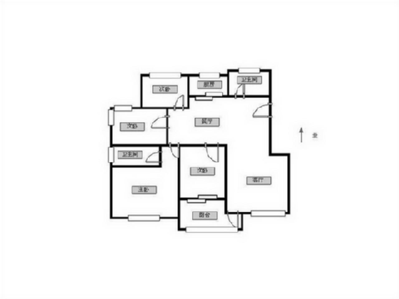 建邺区奥体西堤国际三区4室2厅户型图