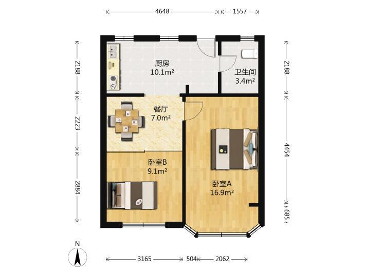 鼓楼区华侨路上海路9号2室1厅户型图