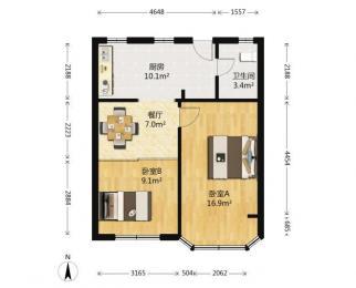 整租上海路9号 2室1厅 南