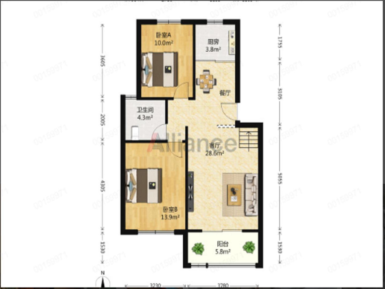 建邺区奥体西堤国际一区2室1厅户型图
