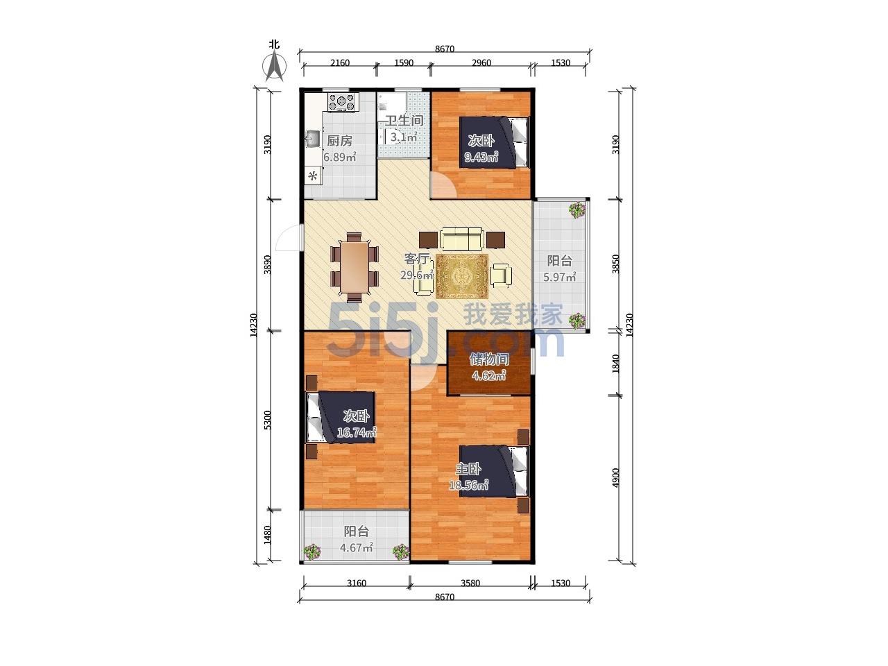 玄武区卫岗美林东苑3室2厅户型图