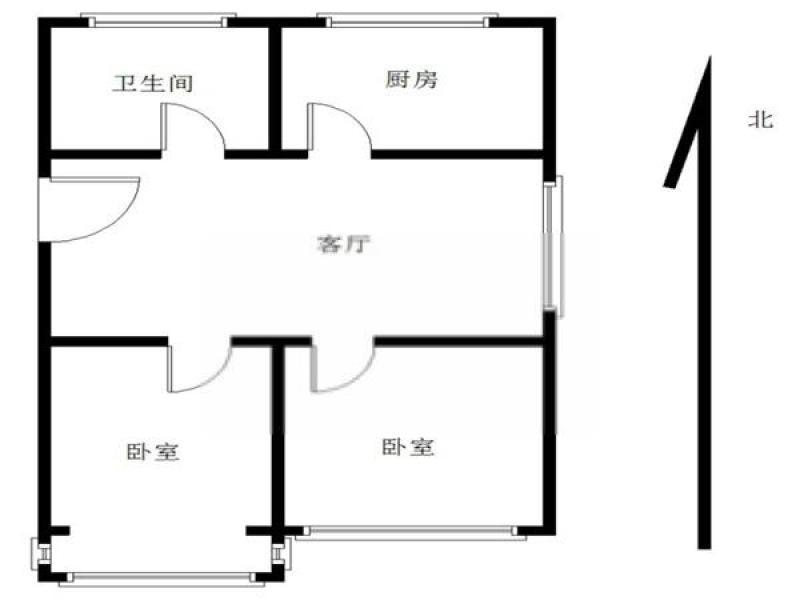 玄武区孝陵卫仙鹤茗苑2室1厅户型图