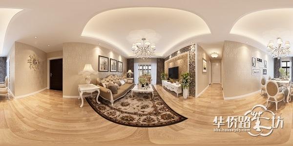 【一号家居】艾菲国际120三室两厅装修设计效果图