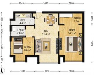 深业滨江半岛 2室1厅 85平