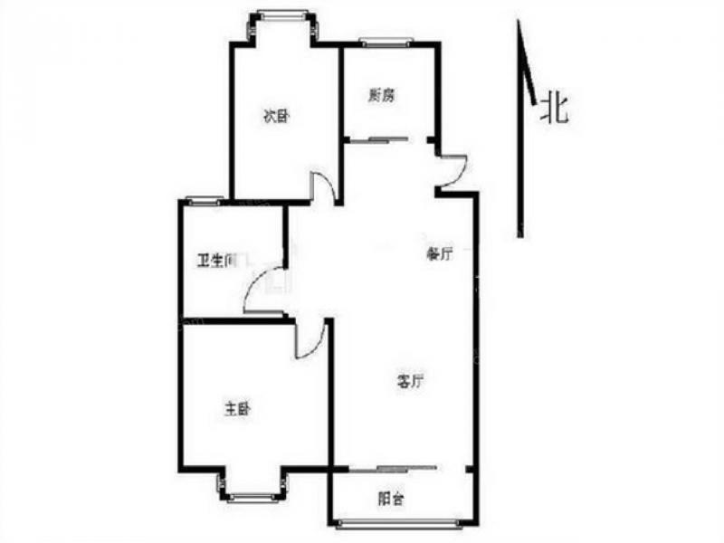 建邺区茶南中北品阁2室2厅户型图
