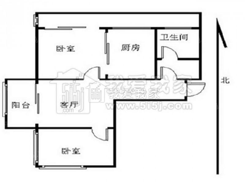 江宁区百家湖高尔夫国际花园2室1厅户型图