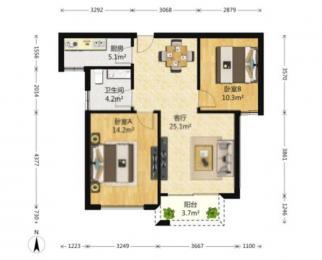 居家装修2房 家具齐全 拎包入住 地铁口 房主包物业 急租