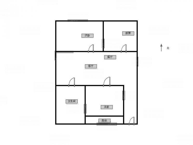 江宁区岔路口金盛公寓2室1厅户型图