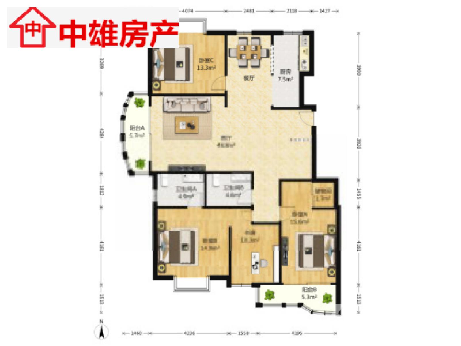 建邺区兴隆宏图上水云锦3室2厅户型图