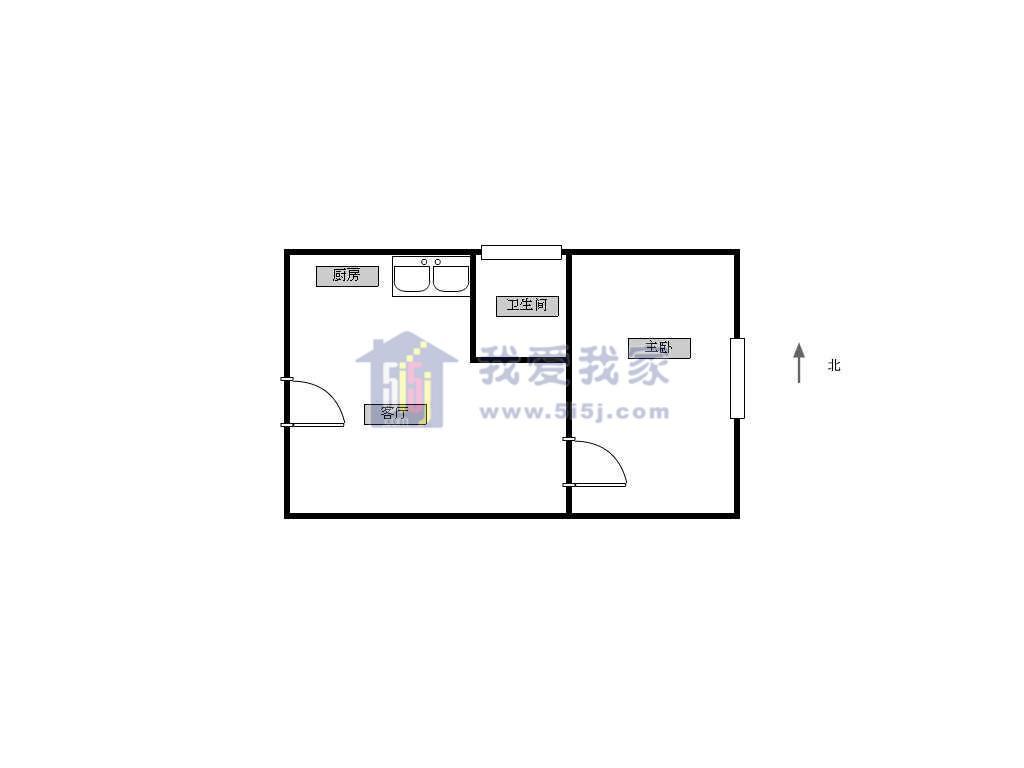 江宁区将军大道翠屏国际城广场苑1室1厅户型图