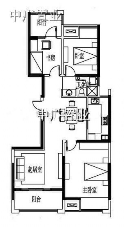 鼓楼区江东苏宁睿城3室2厅户型图