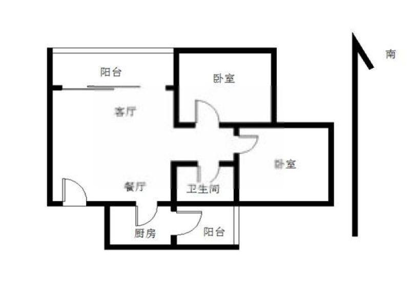 建邺区奥体双和园2室2厅户型图