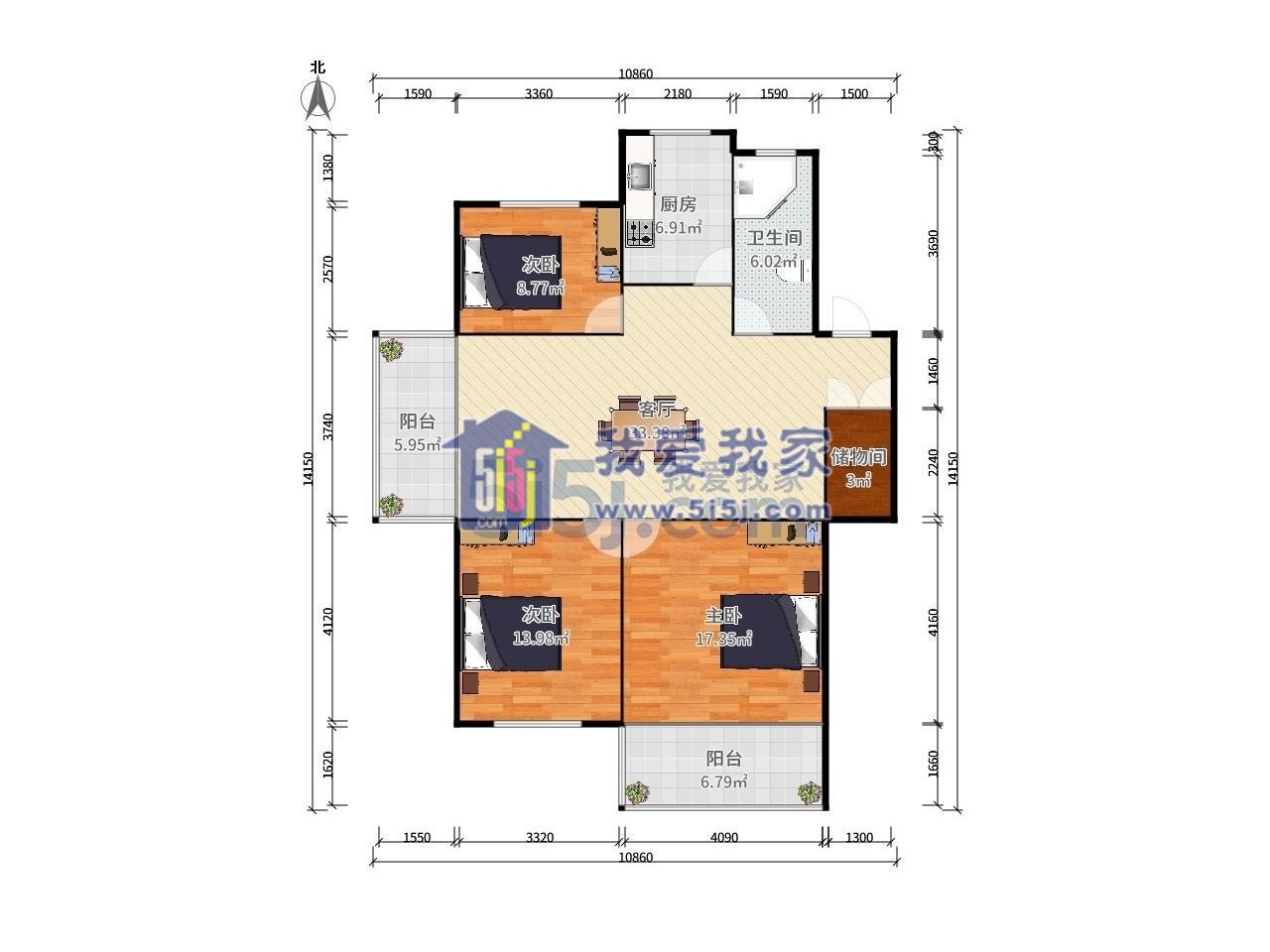 玄武区长江路长江花园3室2厅户型图