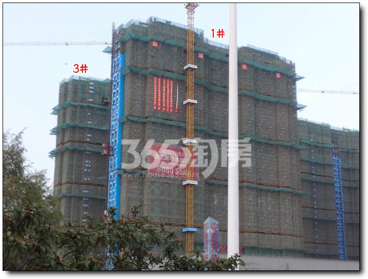 南京万达茂一期封顶啦,封顶大吉横幅已挂出 二期楼栋全面长高高,
