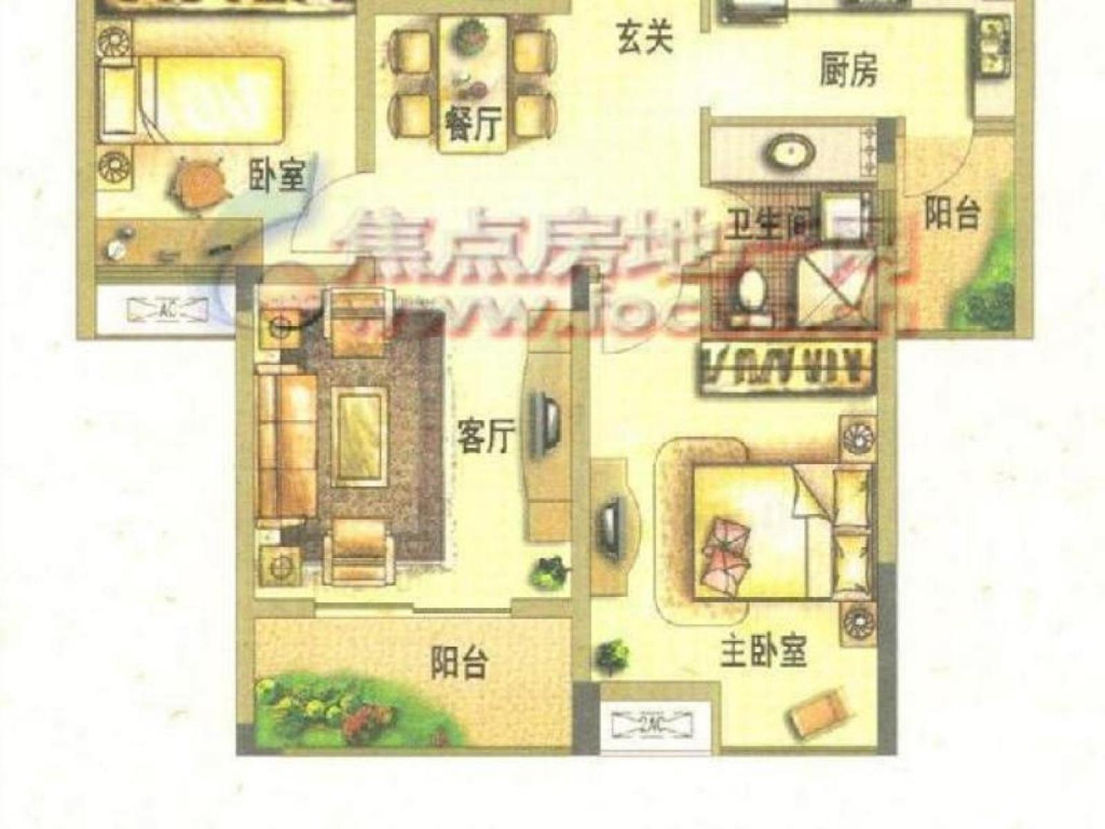 栖霞区迈皋桥中电颐和家园2室1厅户型图