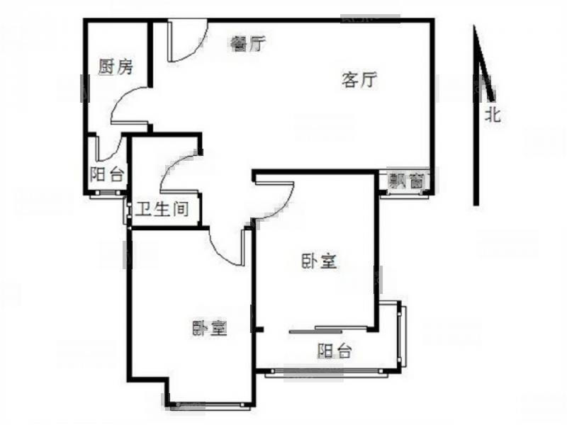 栖霞区仙林亚东城东区2室1厅户型图