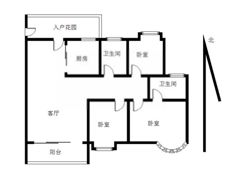 建邺区奥体碧瑶花园3室2厅户型图