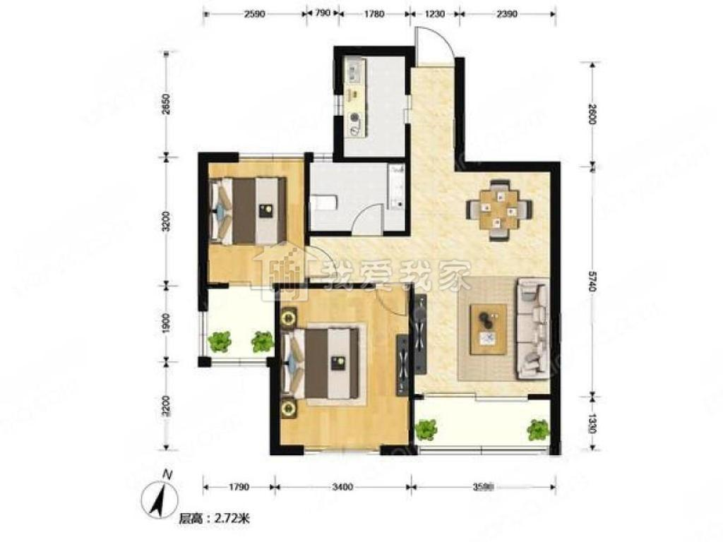 玄武区珠江路如意里小区3室1厅户型图