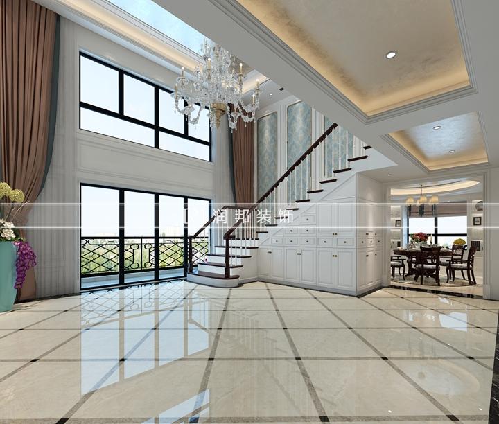 南京别墅装饰公司现代欧式风格装修效果图楼梯间效果