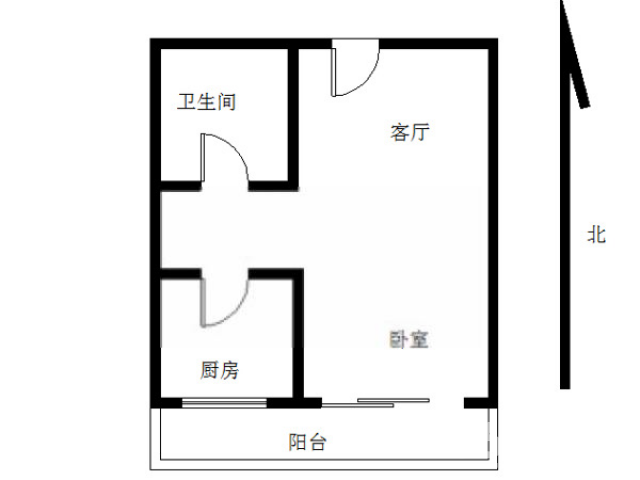 江宁区岔路口南方花园B组团1室1厅户型图