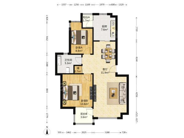 江宁区麒麟东郊小镇第一街区2室2厅户型图