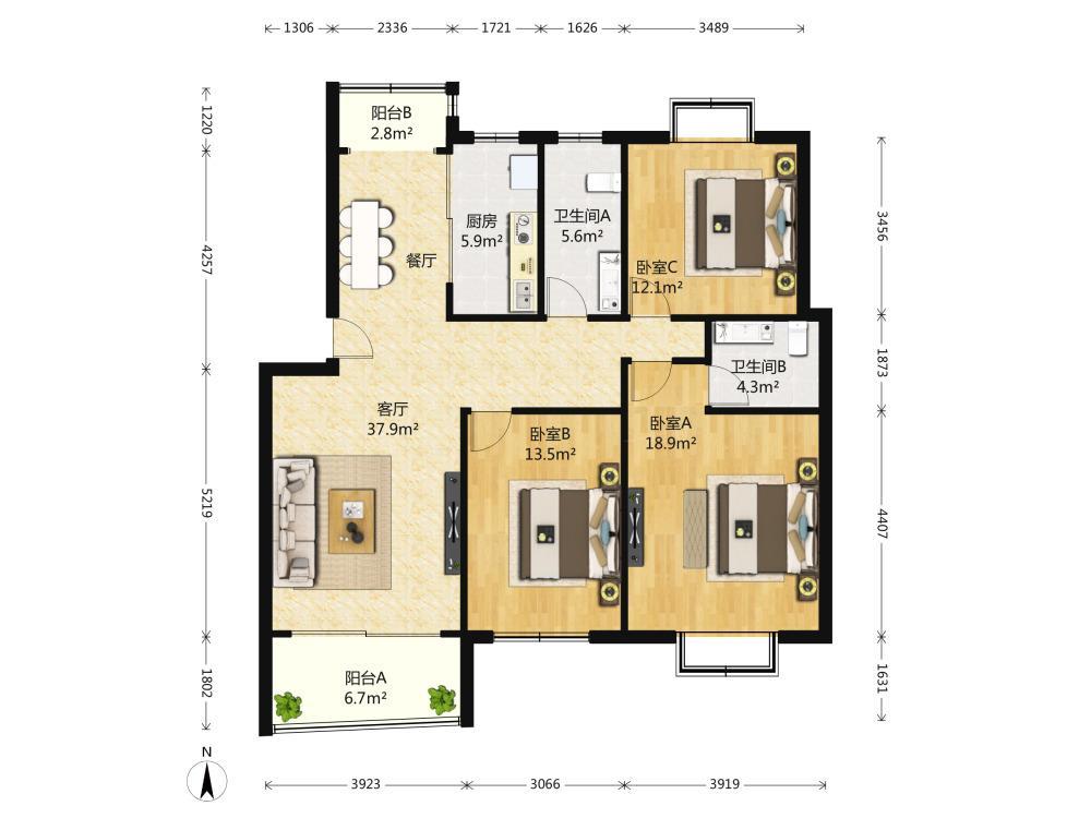 江宁区百家湖明月港湾月亮湾3室1厅户型图