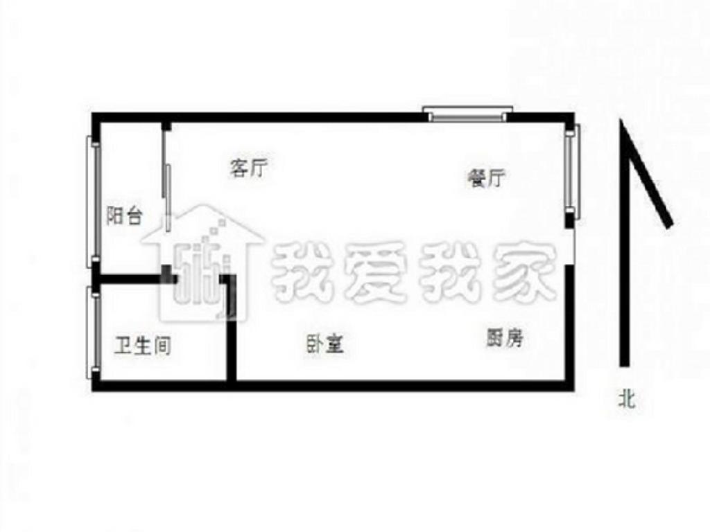 江宁区将军大道托乐嘉贵邻居1室1厅户型图